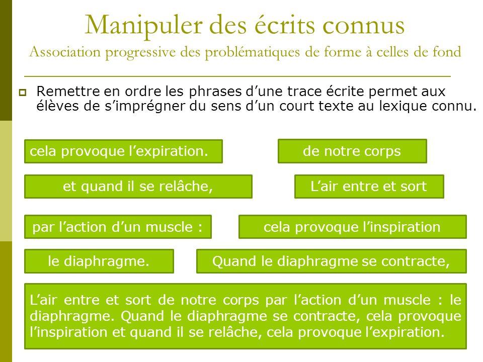 Manipuler des écrits connus Association progressive des problématiques de forme à celles de fond Remettre en ordre les phrases dune trace écrite perme