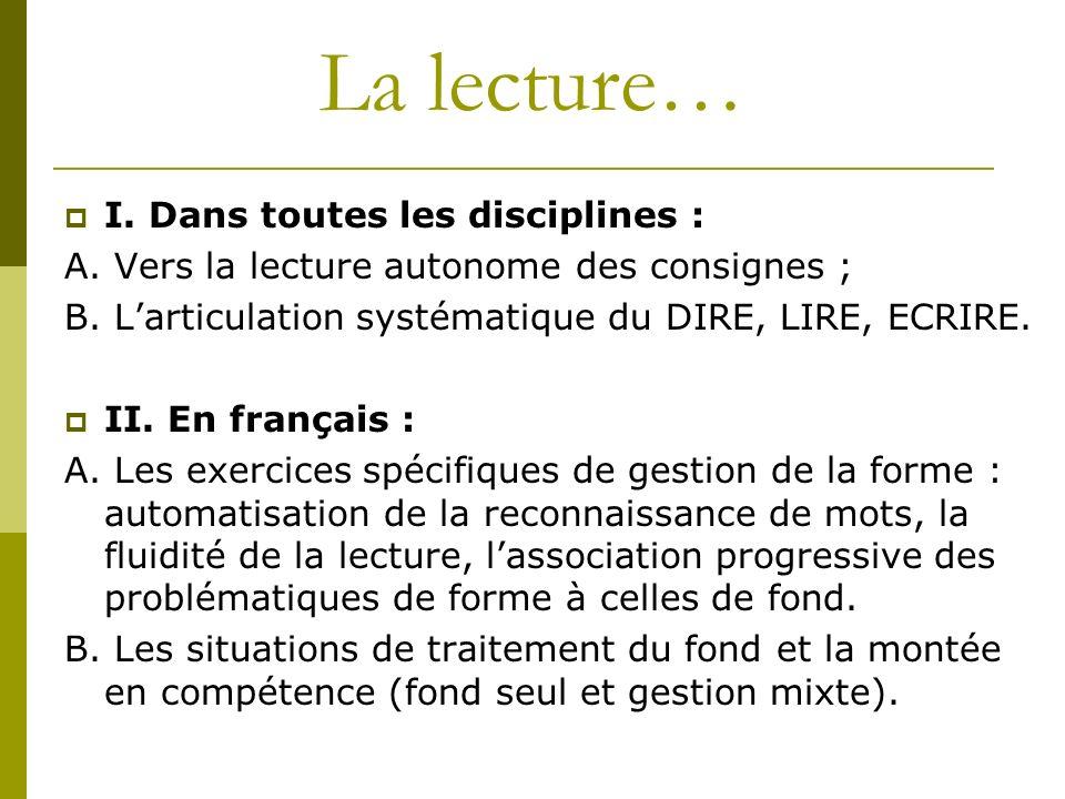 La lecture… I. Dans toutes les disciplines : A. Vers la lecture autonome des consignes ; B. Larticulation systématique du DIRE, LIRE, ECRIRE. II. En f