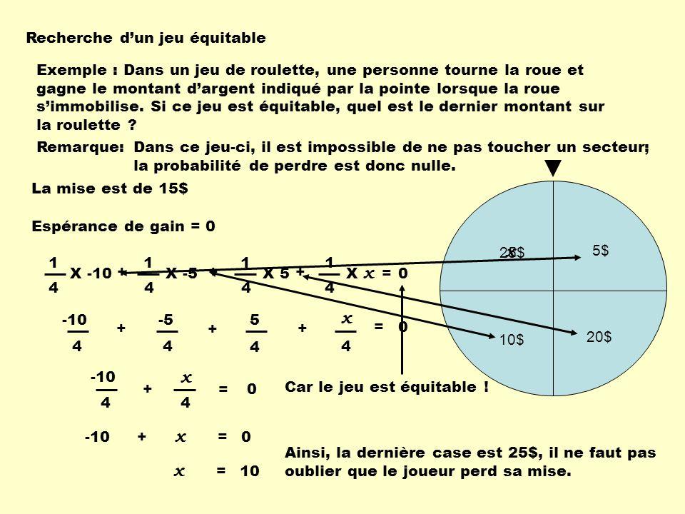 Recherche dun jeu équitable 5$ 20$ 10$ 4 1 + 4 1 X -10X -5 + 4 1 X 5 Exemple : Dans un jeu de roulette, une personne tourne la roue et gagne le montan