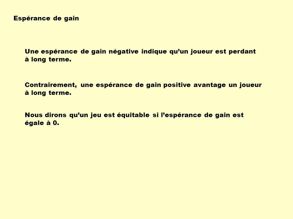 Une espérance de gain négative indique quun joueur est perdant à long terme. Contrairement, une espérance de gain positive avantage un joueur à long t
