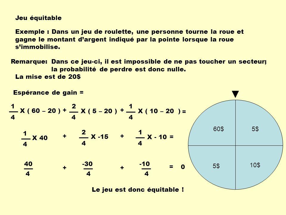 X ( 10 – 20 ) Jeu équitable 5$ 10$ 5$ 60$ = + 4 1 X 40 4 2 X -15 + 4 1 X - 10 Exemple : Dans un jeu de roulette, une personne tourne la roue et gagne