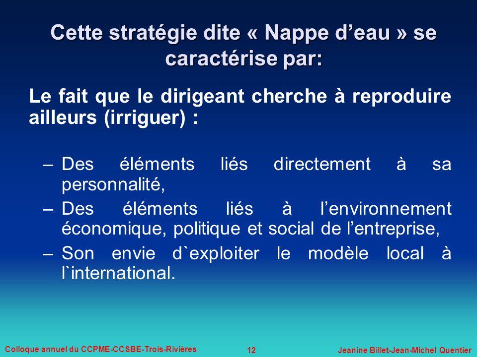 12 Colloque annuel du CCPME-CCSBE-Trois-Rivières Jeanine Billet-Jean-Michel Quentier Cette stratégie dite « Nappe deau » se caractérise par: Le fait q