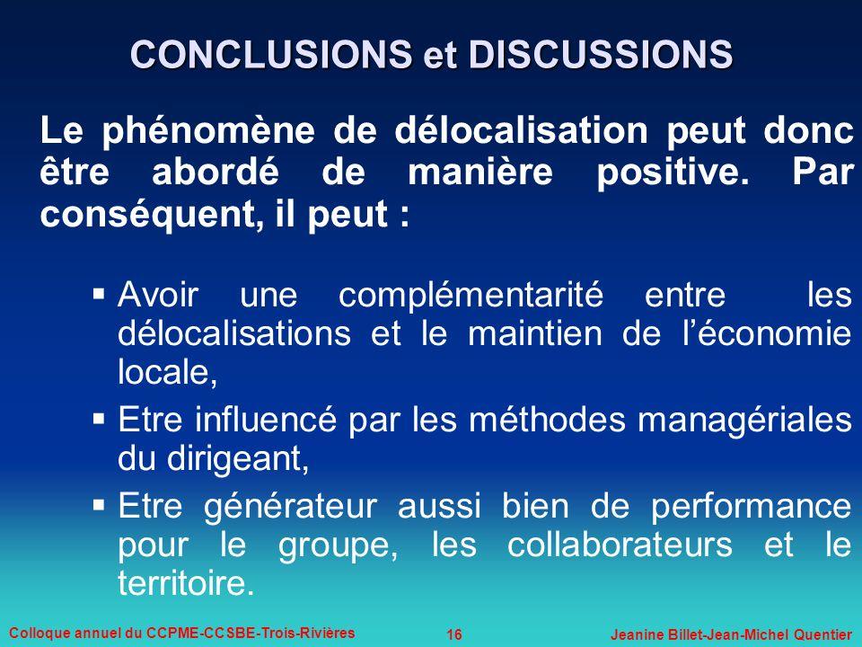 16 Colloque annuel du CCPME-CCSBE-Trois-Rivières Jeanine Billet-Jean-Michel Quentier CONCLUSIONS et DISCUSSIONS Le phénomène de délocalisation peut do