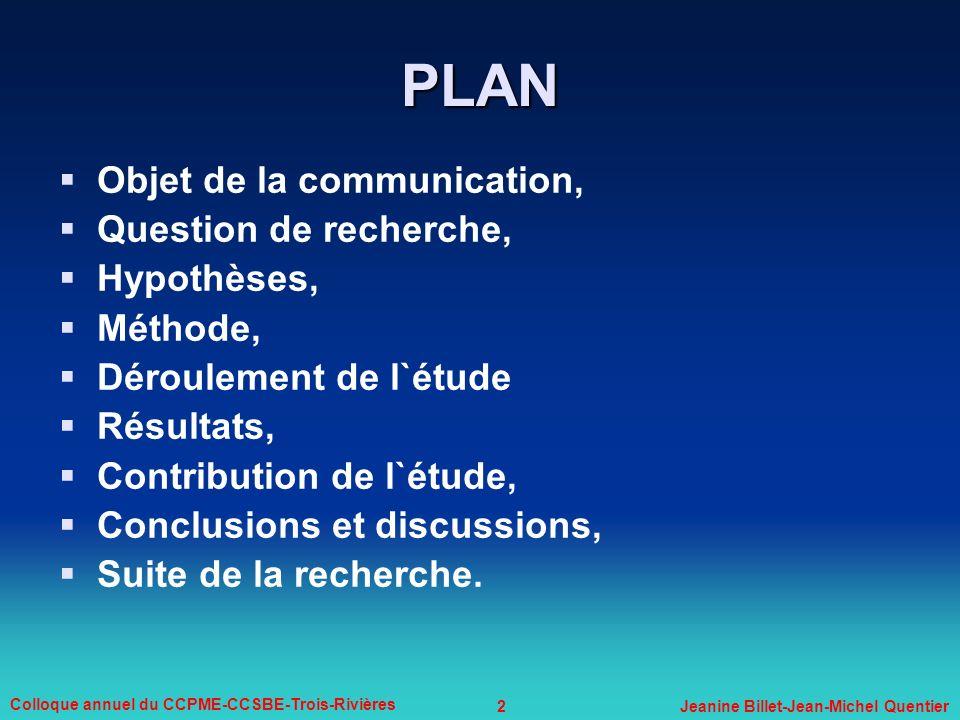 2 Colloque annuel du CCPME-CCSBE-Trois-Rivières Jeanine Billet-Jean-Michel Quentier PLAN Objet de la communication, Question de recherche, Hypothèses,