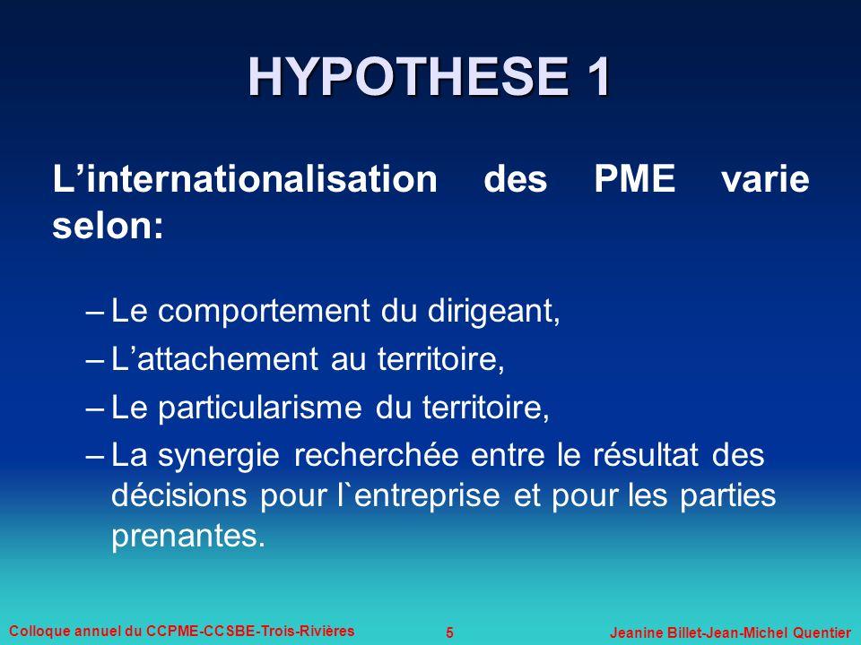 5 Colloque annuel du CCPME-CCSBE-Trois-Rivières Jeanine Billet-Jean-Michel Quentier Linternationalisation des PME varie selon: –Le comportement du dir