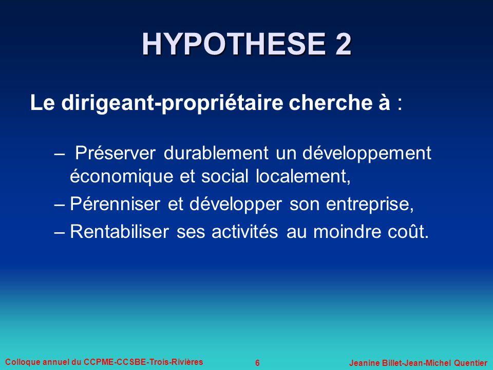 6 Colloque annuel du CCPME-CCSBE-Trois-Rivières Jeanine Billet-Jean-Michel Quentier Le dirigeant-propriétaire cherche à : – Préserver durablement un d
