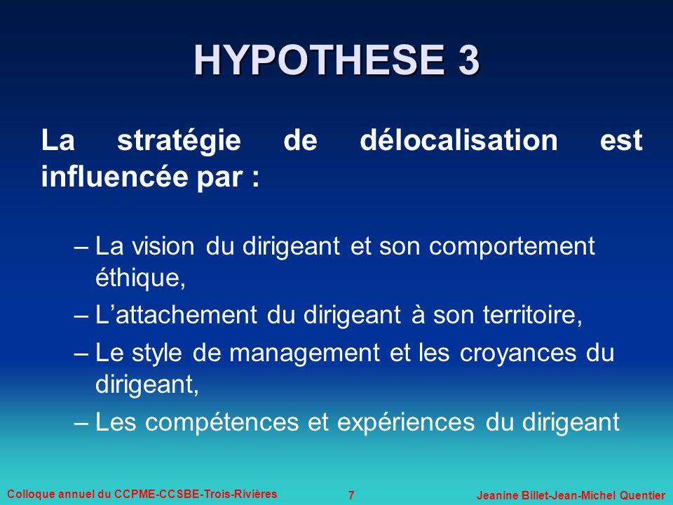 7 Colloque annuel du CCPME-CCSBE-Trois-Rivières Jeanine Billet-Jean-Michel Quentier La stratégie de délocalisation est influencée par : –La vision du