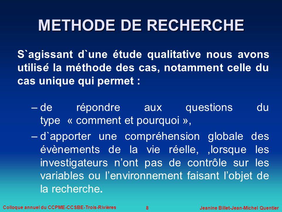 8 Colloque annuel du CCPME-CCSBE-Trois-Rivières Jeanine Billet-Jean-Michel Quentier METHODE DE RECHERCHE S`agissant d`une étude qualitative nous avons