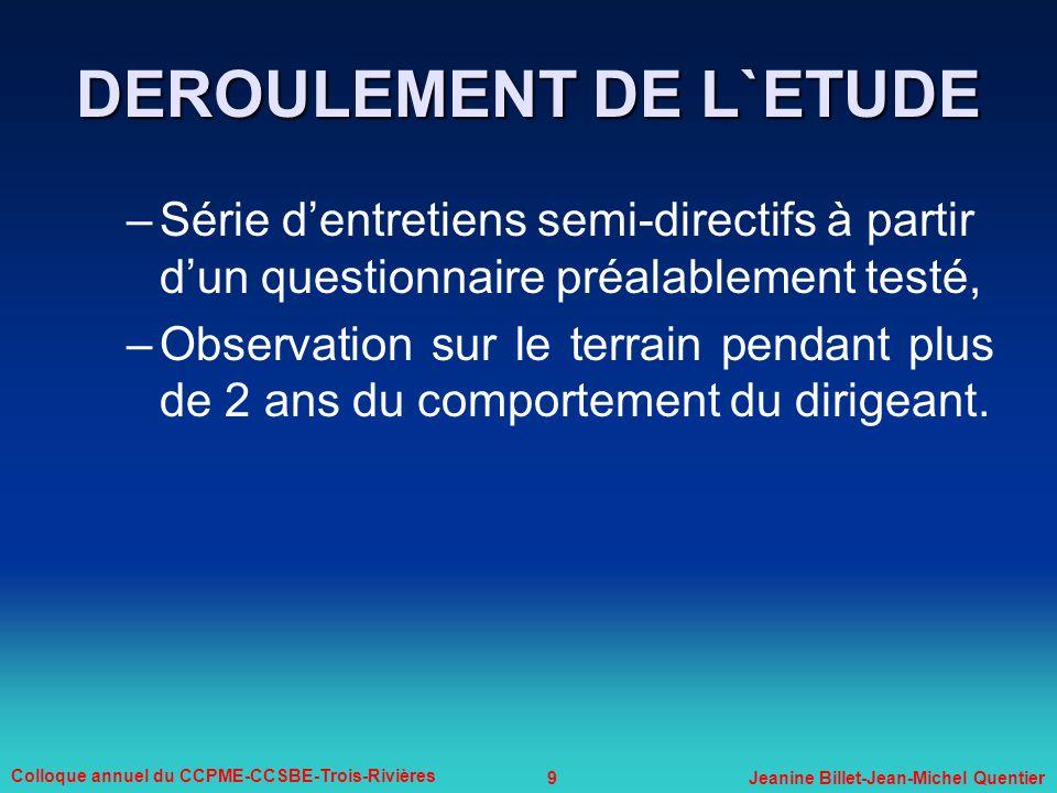 9 Colloque annuel du CCPME-CCSBE-Trois-Rivières Jeanine Billet-Jean-Michel Quentier –Série dentretiens semi-directifs à partir dun questionnaire préal