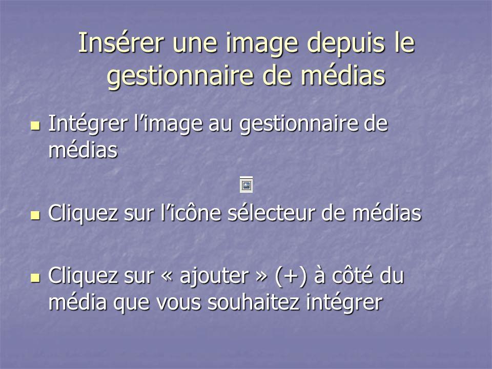 Insérer une image depuis le gestionnaire de médias Intégrer limage au gestionnaire de médias Intégrer limage au gestionnaire de médias Cliquez sur licône sélecteur de médias Cliquez sur licône sélecteur de médias Cliquez sur « ajouter » (+) à côté du média que vous souhaitez intégrer Cliquez sur « ajouter » (+) à côté du média que vous souhaitez intégrer