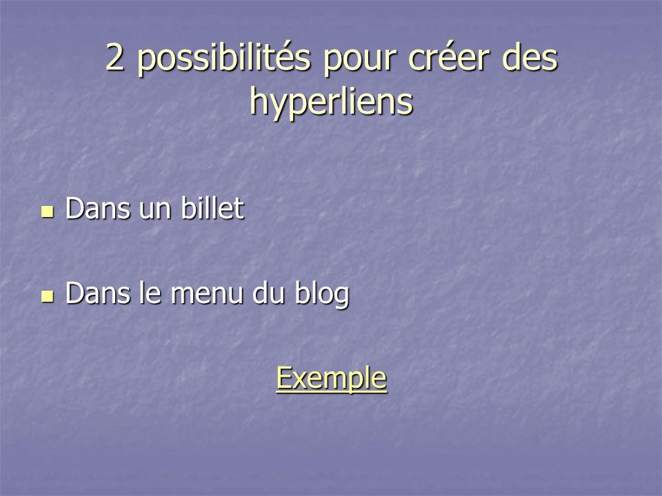 2 possibilités pour créer des hyperliens Dans un billet Dans un billet Dans le menu du blog Dans le menu du blog Exemple