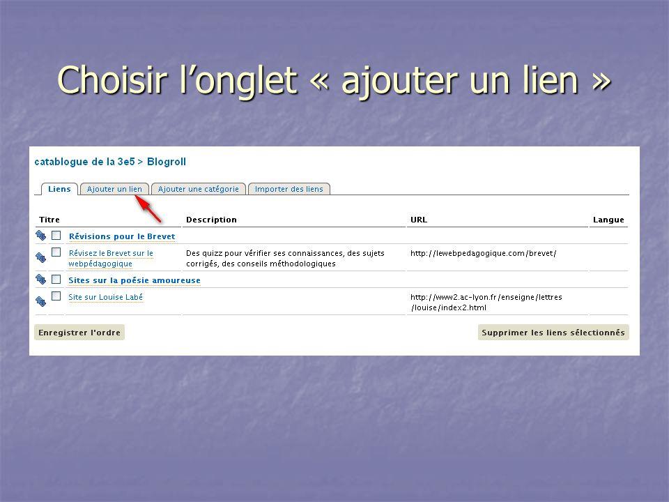 Choisir longlet « ajouter un lien »