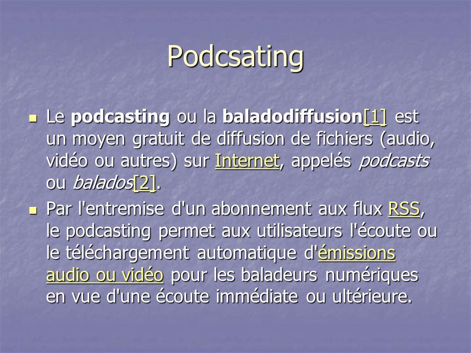 Podcsating Le podcasting ou la baladodiffusion[1] est un moyen gratuit de diffusion de fichiers (audio, vidéo ou autres) sur Internet, appelés podcasts ou balados[2].