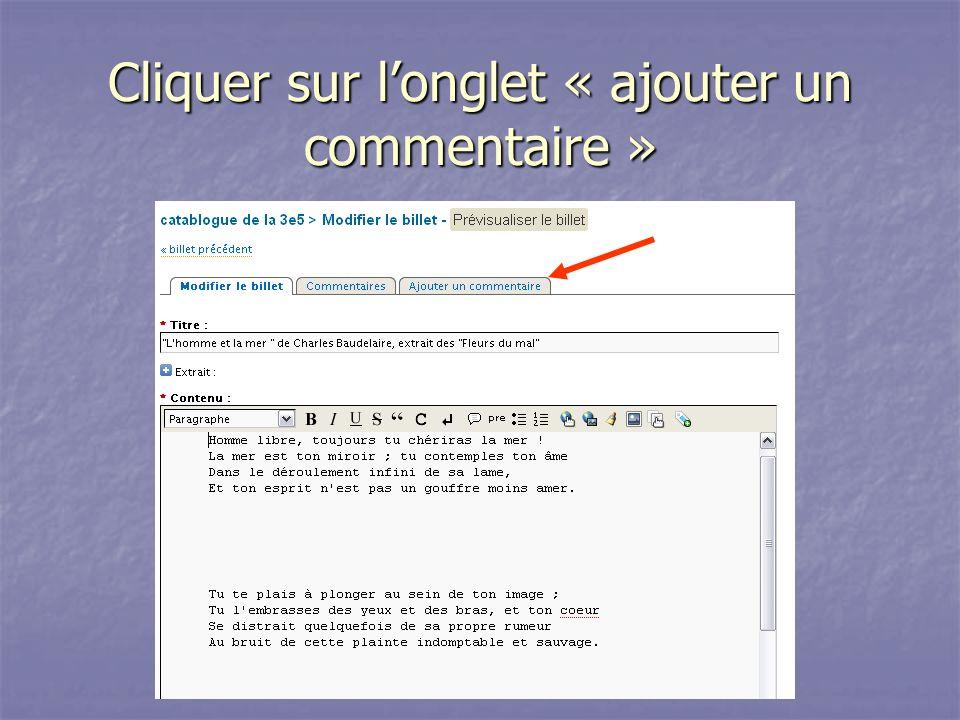 Cliquer sur longlet « ajouter un commentaire »