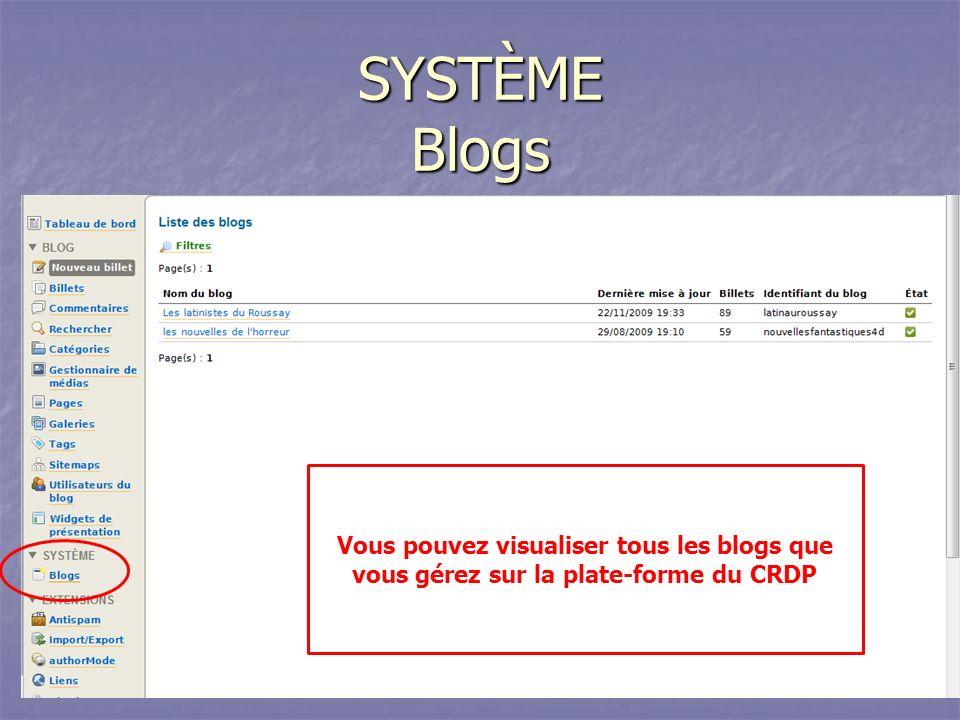SYSTÈME Blogs Vous pouvez visualiser tous les blogs que vous gérez sur la plate-forme du CRDP