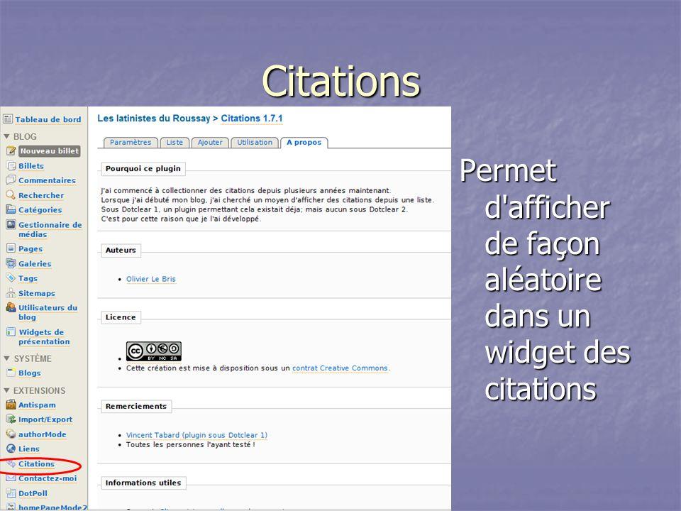 Citations Permet d afficher de façon aléatoire dans un widget des citations