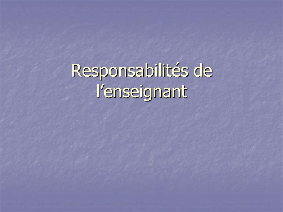 Responsabilités de lenseignant