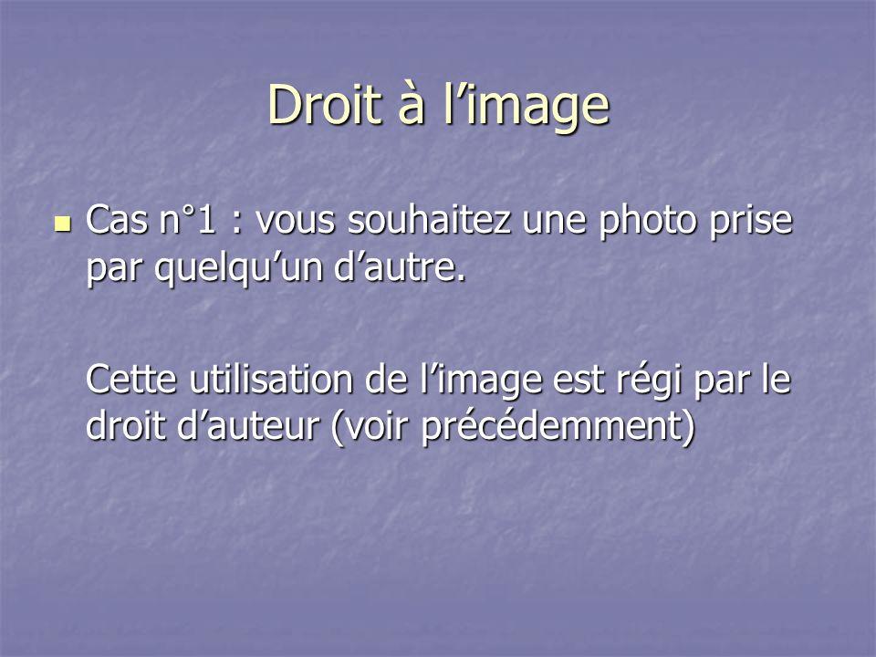 Droit à limage Cas n°1 : vous souhaitez une photo prise par quelquun dautre.