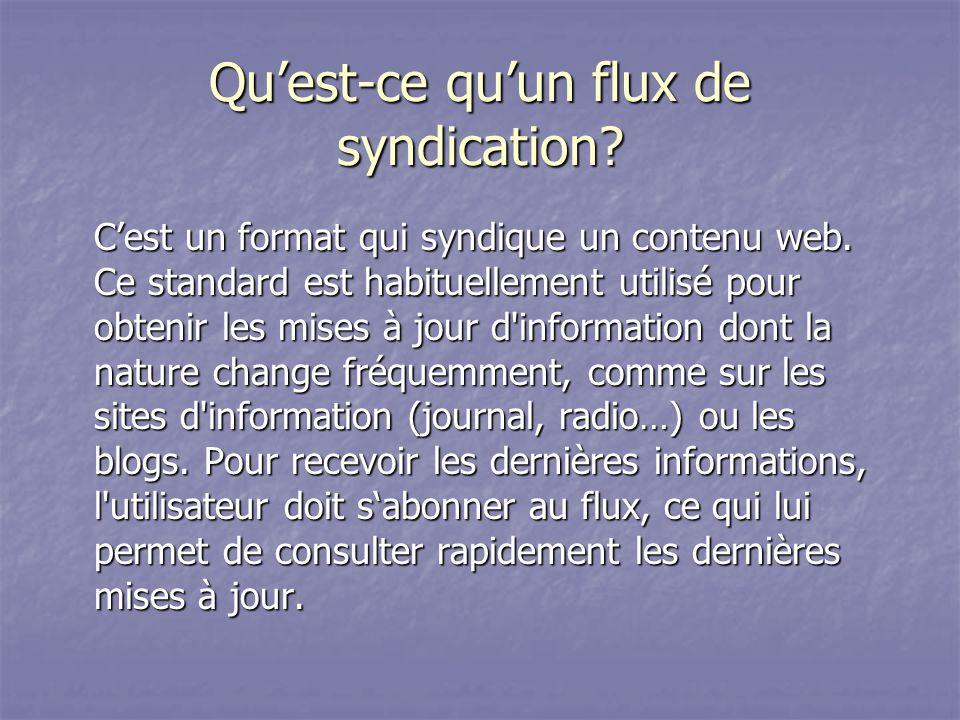 Quest-ce quun flux de syndication.Cest un format qui syndique un contenu web.