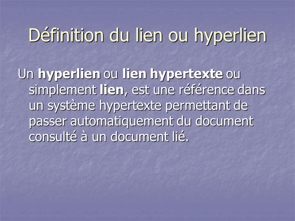 Définition du lien ou hyperlien Un hyperlien ou lien hypertexte ou simplement lien, est une référence dans un système hypertexte permettant de passer automatiquement du document consulté à un document lié.