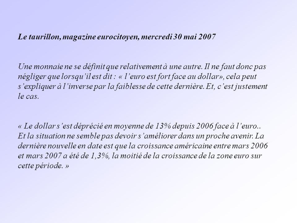 Le taurillon, magazine eurocitoyen, mercredi 30 mai 2007 Une monnaie ne se définit que relativement à une autre.