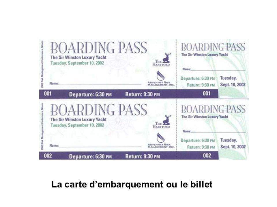 La carte dembarquement ou le billet