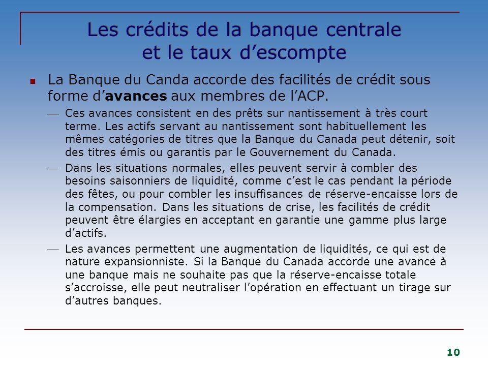 10 Les crédits de la banque centrale et le taux descompte La Banque du Canda accorde des facilités de crédit sous forme davances aux membres de lACP.