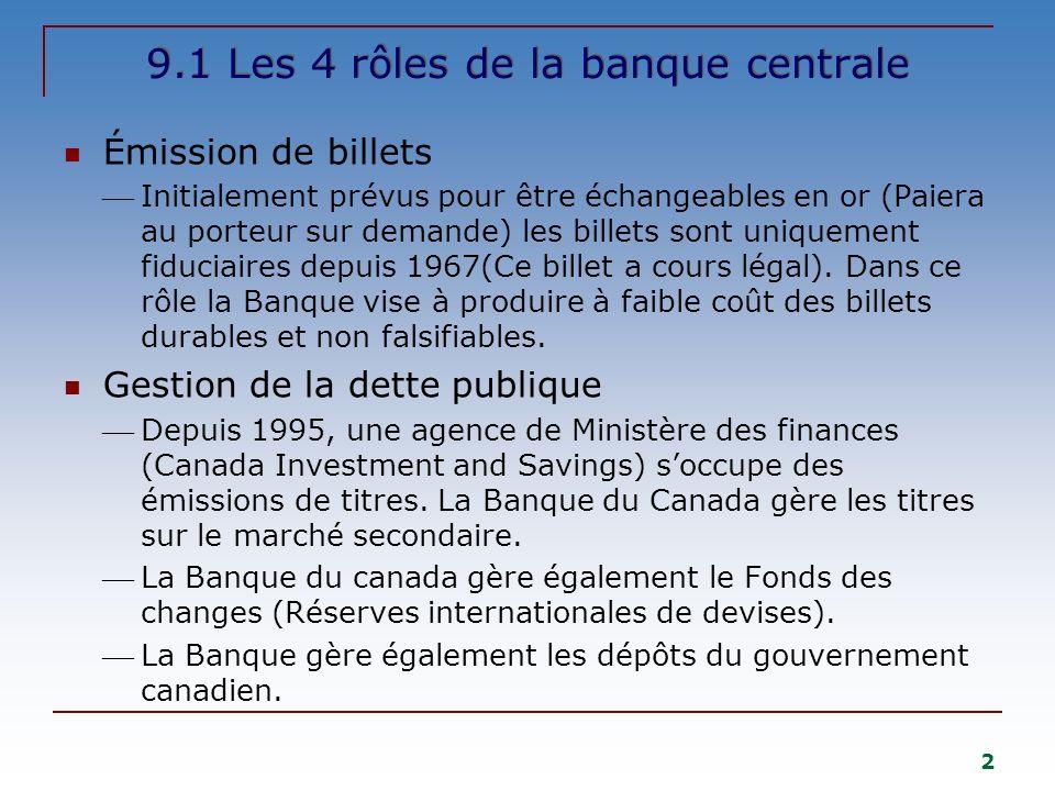 2 9.1 Les 4 rôles de la banque centrale Émission de billets Initialement prévus pour être échangeables en or (Paiera au porteur sur demande) les billets sont uniquement fiduciaires depuis 1967(Ce billet a cours légal).