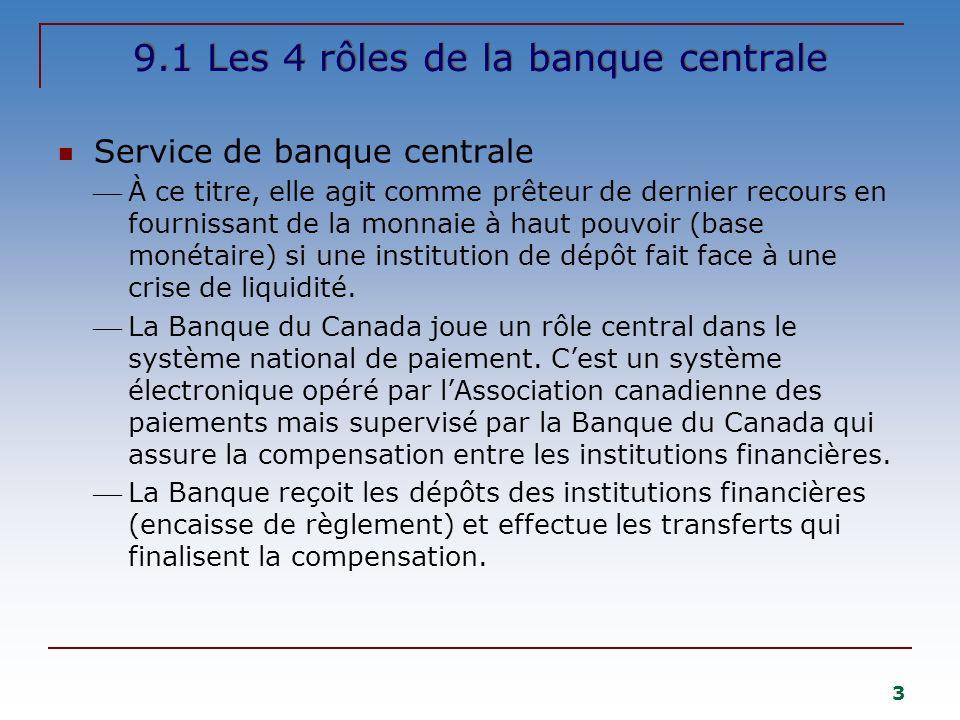3 9.1 Les 4 rôles de la banque centrale Service de banque centrale À ce titre, elle agit comme prêteur de dernier recours en fournissant de la monnaie à haut pouvoir (base monétaire) si une institution de dépôt fait face à une crise de liquidité.