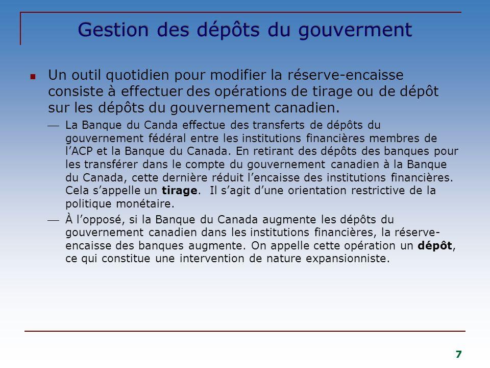 7 Gestion des dépôts du gouverment Un outil quotidien pour modifier la réserve-encaisse consiste à effectuer des opérations de tirage ou de dépôt sur les dépôts du gouvernement canadien.