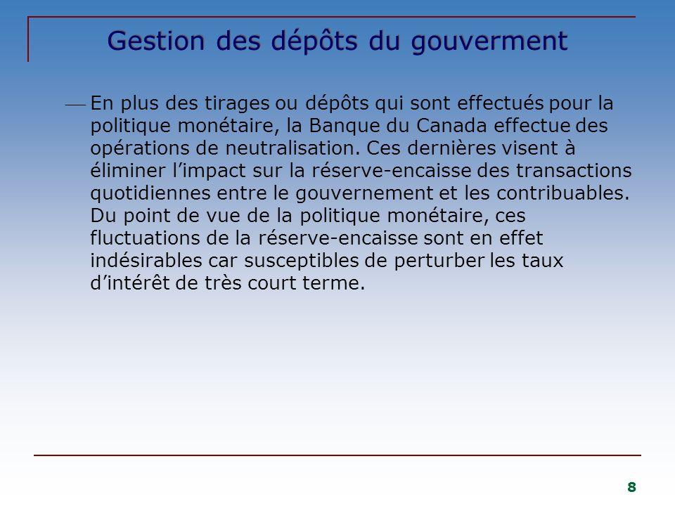 8 Gestion des dépôts du gouverment En plus des tirages ou dépôts qui sont effectués pour la politique monétaire, la Banque du Canada effectue des opér