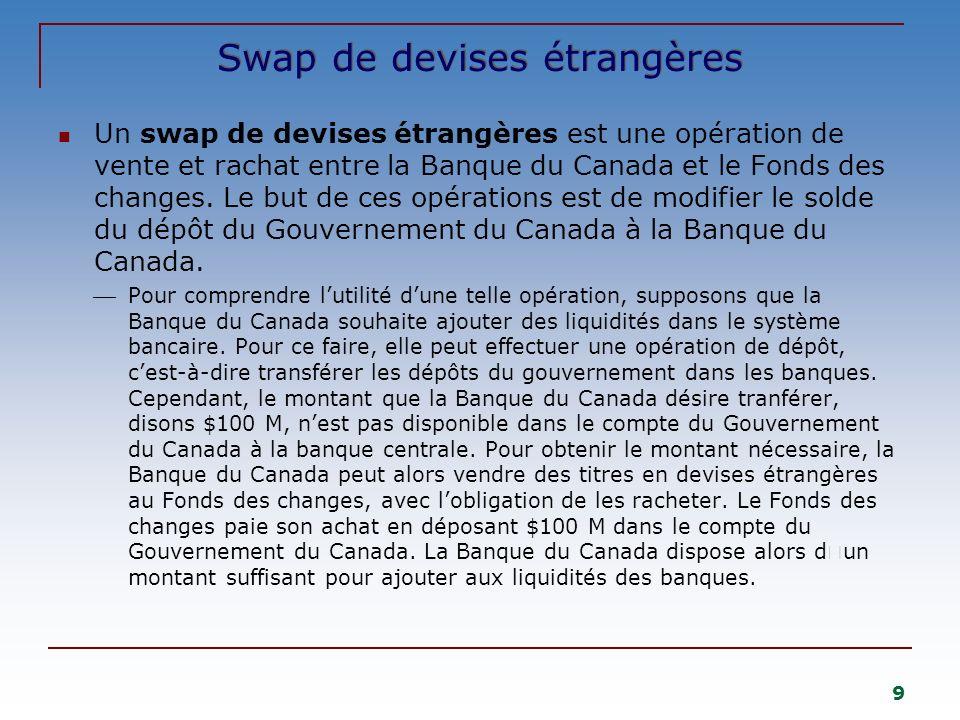 9 Swap de devises étrangères Un swap de devises étrangères est une opération de vente et rachat entre la Banque du Canada et le Fonds des changes. Le