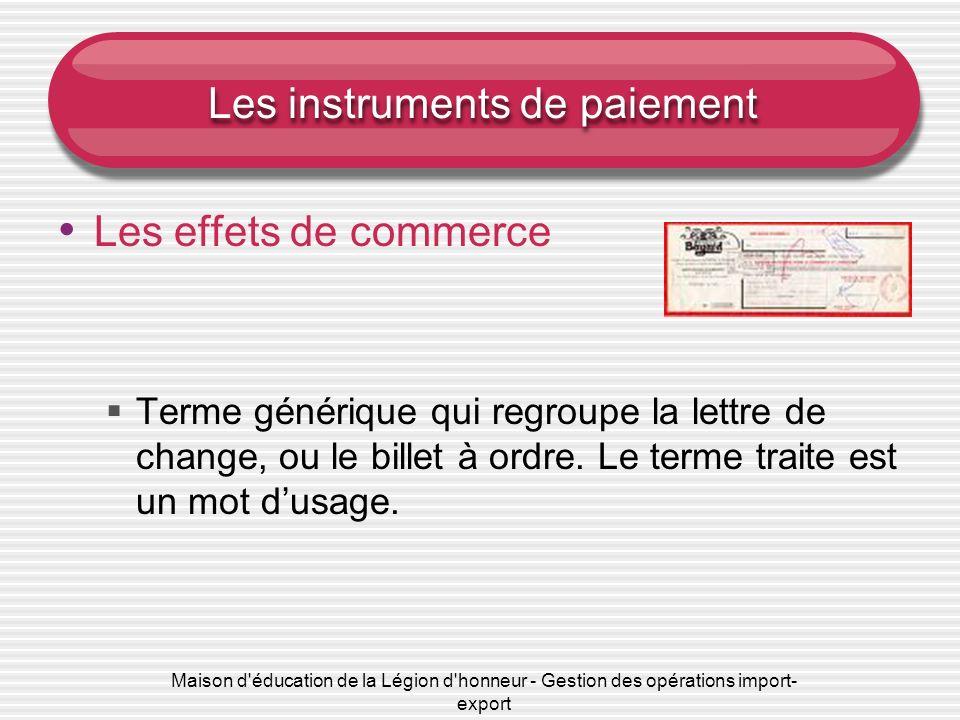 Maison d'éducation de la Légion d'honneur - Gestion des opérations import- export Les instruments de paiement Les effets de commerce Terme générique q