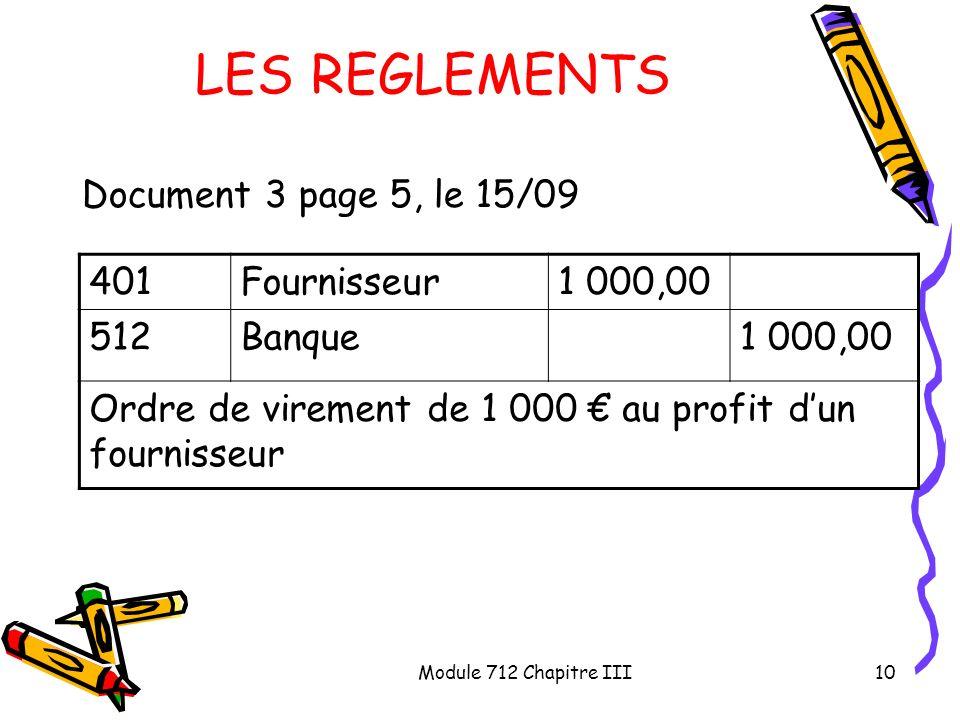 Module 712 Chapitre III10 LES REGLEMENTS Document 3 page 5, le 15/09 401Fournisseur1 000,00 512Banque1 000,00 Ordre de virement de 1 000 au profit dun
