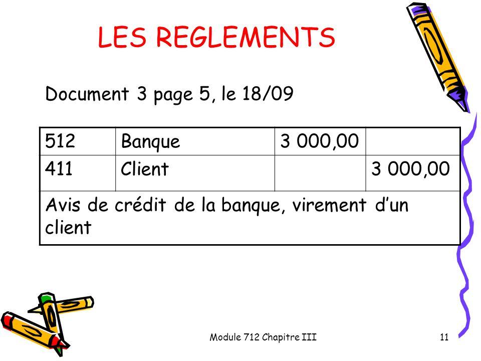 Module 712 Chapitre III11 LES REGLEMENTS Document 3 page 5, le 18/09 512Banque3 000,00 411Client3 000,00 Avis de crédit de la banque, virement dun cli