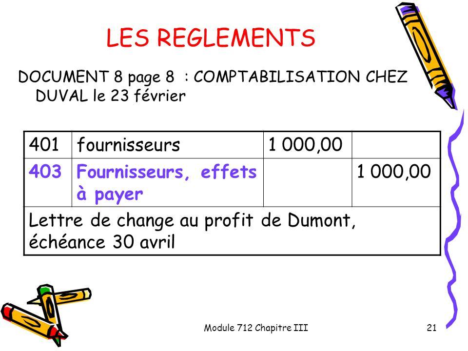 Module 712 Chapitre III21 LES REGLEMENTS DOCUMENT 8 page 8 : COMPTABILISATION CHEZ DUVAL le 23 février 401fournisseurs1 000,00 403Fournisseurs, effets