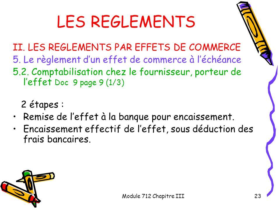 Module 712 Chapitre III23 LES REGLEMENTS II. LES REGLEMENTS PAR EFFETS DE COMMERCE 5. Le règlement dun effet de commerce à léchéance 5.2. Comptabilisa