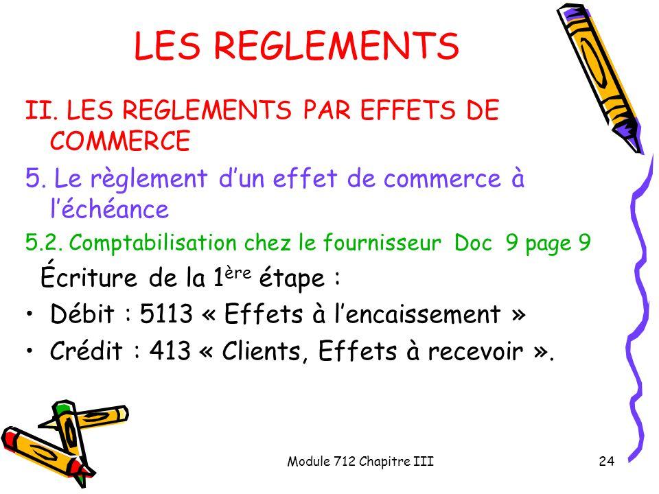 Module 712 Chapitre III24 LES REGLEMENTS II. LES REGLEMENTS PAR EFFETS DE COMMERCE 5. Le règlement dun effet de commerce à léchéance 5.2. Comptabilisa