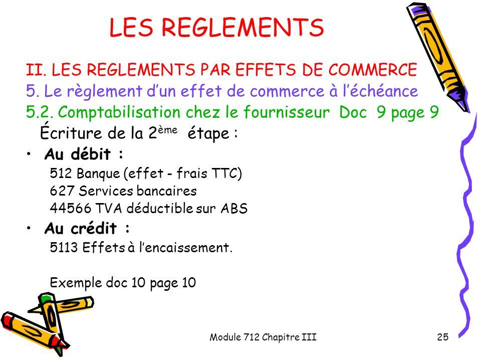 Module 712 Chapitre III25 LES REGLEMENTS II. LES REGLEMENTS PAR EFFETS DE COMMERCE 5. Le règlement dun effet de commerce à léchéance 5.2. Comptabilisa