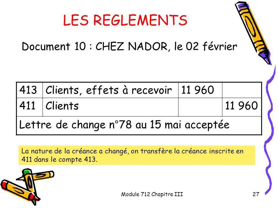 Module 712 Chapitre III27 LES REGLEMENTS Document 10 : CHEZ NADOR, le 02 février 413Clients, effets à recevoir11 960 411Clients11 960 Lettre de change