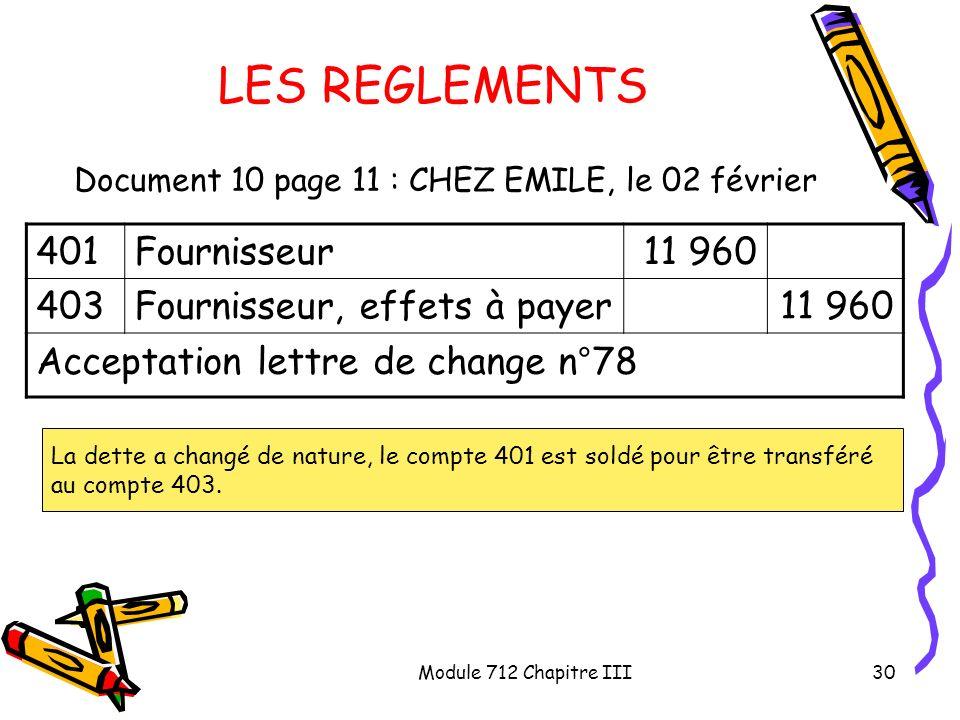 Module 712 Chapitre III30 LES REGLEMENTS Document 10 page 11 : CHEZ EMILE, le 02 février 401Fournisseur11 960 403Fournisseur, effets à payer11 960 Acc