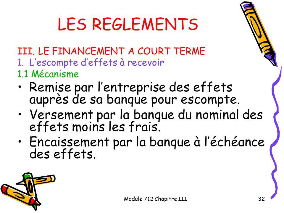 Module 712 Chapitre III32 LES REGLEMENTS III. LE FINANCEMENT A COURT TERME 1.Lescompte deffets à recevoir 1.1 Mécanisme Remise par lentreprise des eff