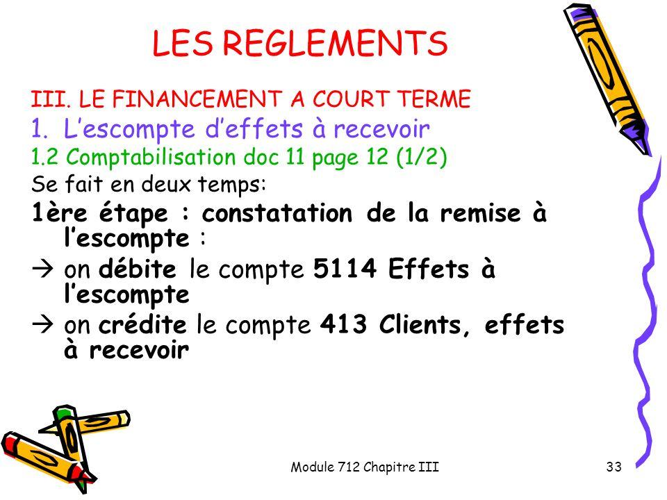 Module 712 Chapitre III33 LES REGLEMENTS III. LE FINANCEMENT A COURT TERME 1.Lescompte deffets à recevoir 1.2 Comptabilisation doc 11 page 12 (1/2) Se