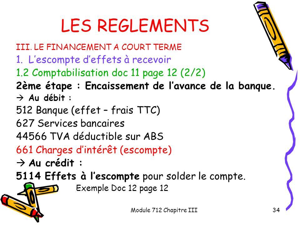 Module 712 Chapitre III34 LES REGLEMENTS III. LE FINANCEMENT A COURT TERME 1.Lescompte deffets à recevoir 1.2 Comptabilisation doc 11 page 12 (2/2) 2è