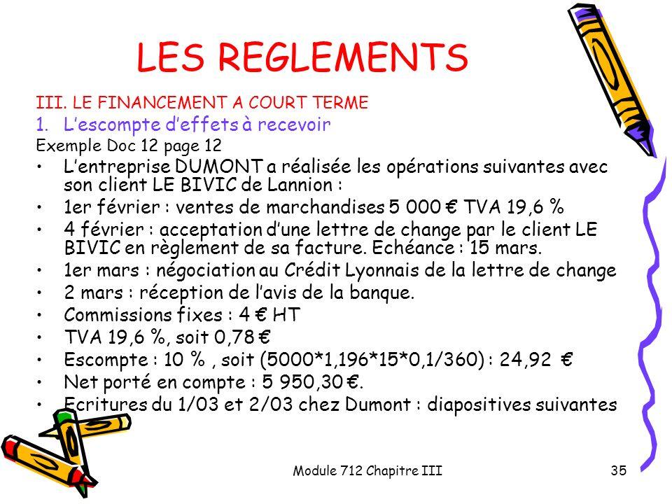Module 712 Chapitre III35 LES REGLEMENTS III. LE FINANCEMENT A COURT TERME 1.Lescompte deffets à recevoir Exemple Doc 12 page 12 Lentreprise DUMONT a