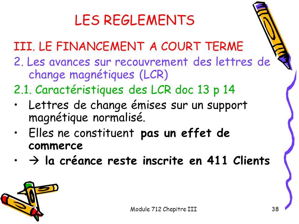 Module 712 Chapitre III38 LES REGLEMENTS III. LE FINANCEMENT A COURT TERME 2. Les avances sur recouvrement des lettres de change magnétiques (LCR) 2.1