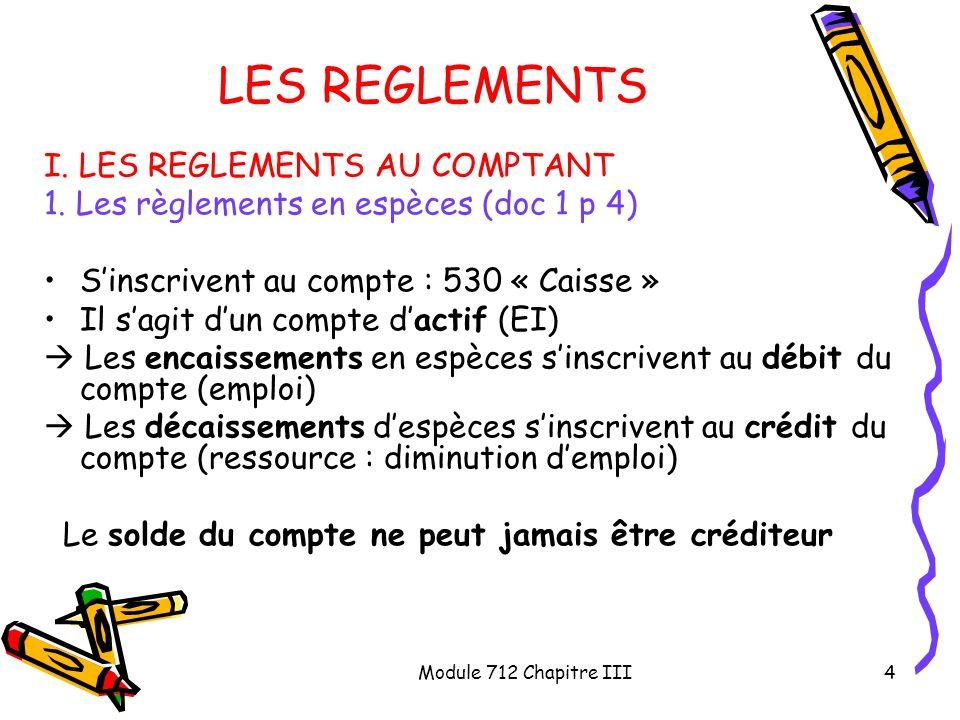 Module 712 Chapitre III4 LES REGLEMENTS I. LES REGLEMENTS AU COMPTANT 1. Les règlements en espèces (doc 1 p 4) Sinscrivent au compte : 530 « Caisse »