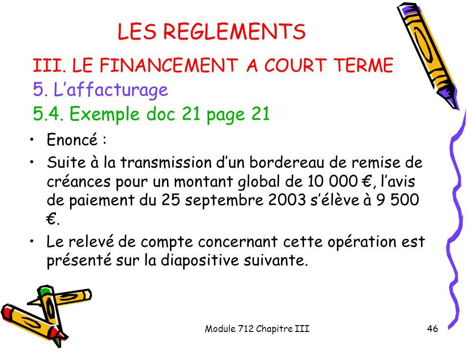 Module 712 Chapitre III46 LES REGLEMENTS III. LE FINANCEMENT A COURT TERME 5. Laffacturage 5.4. Exemple doc 21 page 21 Enoncé : Suite à la transmissio