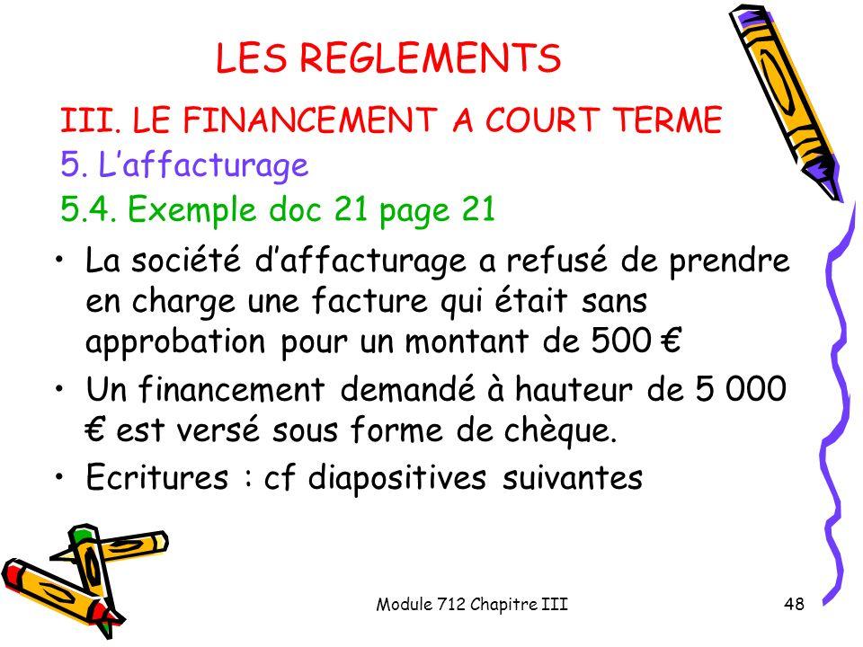 Module 712 Chapitre III48 LES REGLEMENTS III. LE FINANCEMENT A COURT TERME 5. Laffacturage 5.4. Exemple doc 21 page 21 La société daffacturage a refus