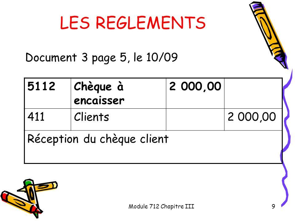 Module 712 Chapitre III10 LES REGLEMENTS Document 3 page 5, le 15/09 401Fournisseur1 000,00 512Banque1 000,00 Ordre de virement de 1 000 au profit dun fournisseur